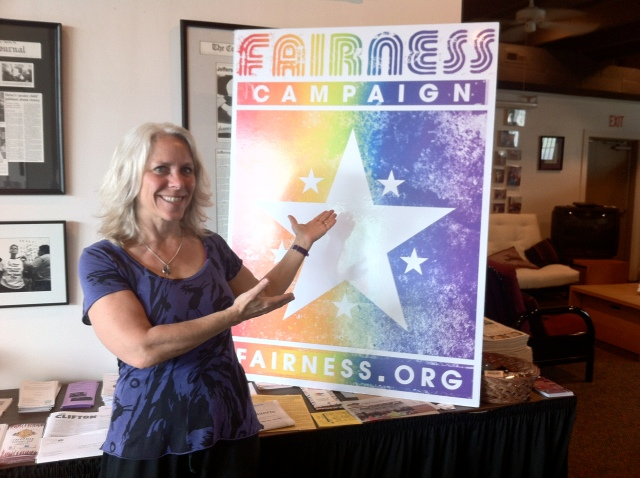 Robyn visiting Fairness Campaign Office, Louisville, KY