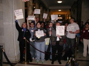 Robyn and others advocating for marriage equality inside the Massachusetts State House, 2004