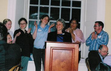 Robyn and other members of Harvard University's Trans Task Force celebrating the addition of gender identity to the University's nondiscrimination policy at the Harvard Gay & Lesbian Caucus Dinner, June 2006.